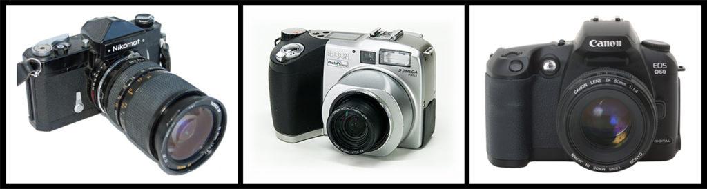- Da Sinistra a Destra. La leggendaria Nikkormat T2 che ho usato negli anni 90, l'innovativa Epson 850z da 2 Mpx e la mia prima reflex digitale, l'indistruttibile Canon EOS D60 del 2002 -