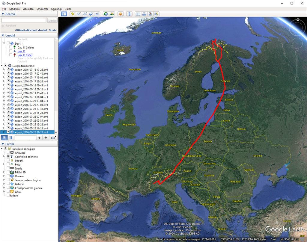 Pillole di Fotografia  Gambacciani_Tracciato_GPS_Lapponia_Google_Earth_Q1-1024x808 Registrare i propri viaggi e geo-taggare le foto