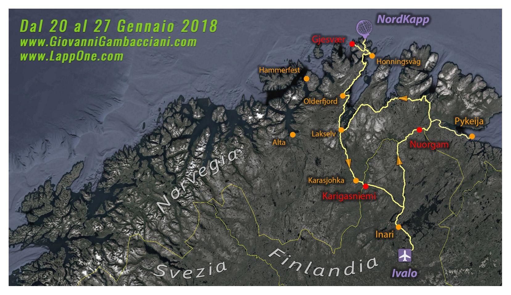 Viaggi di Gruppo  mappa_inverno2018_3 [CONCLUSO] L'alba di Mezzogiorno a CapoNord: Da Sabato 20 a Sabato 27 Gennaio 2018